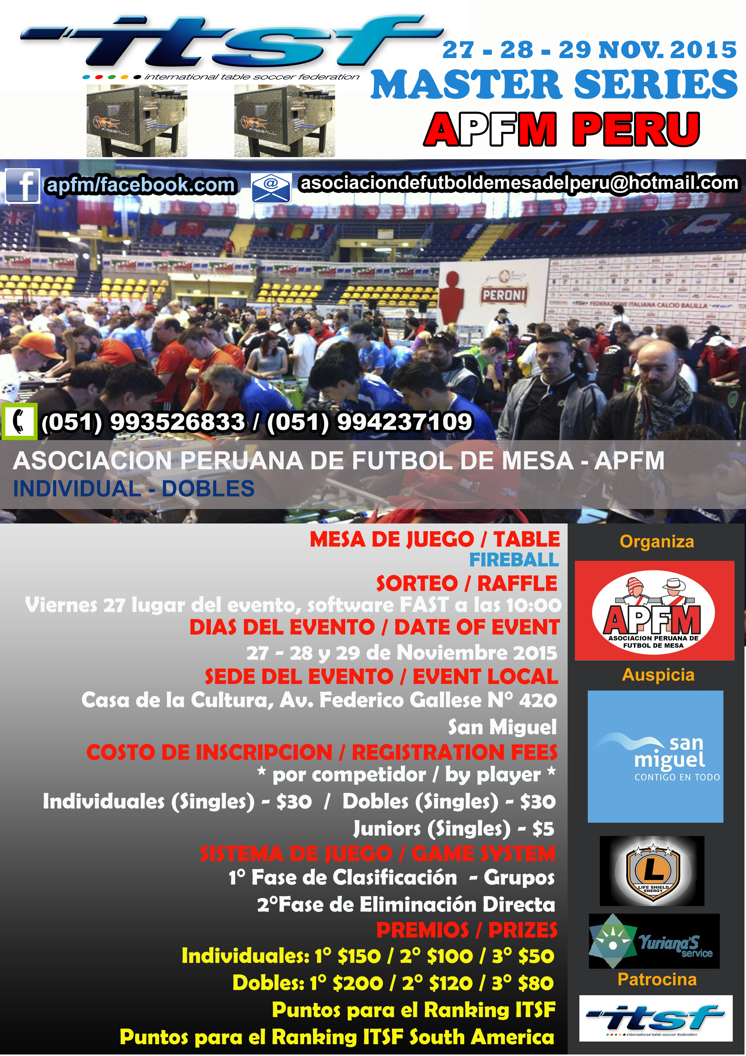 Leonhart Foosball Table Master Series APFM Peru 2015 | International Table Soccer Federation
