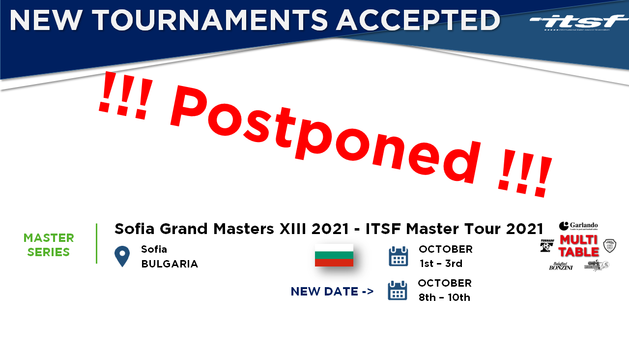 Sofia Grand Masters XIII 2021 - ITSF Master Tour 2021 is postponed